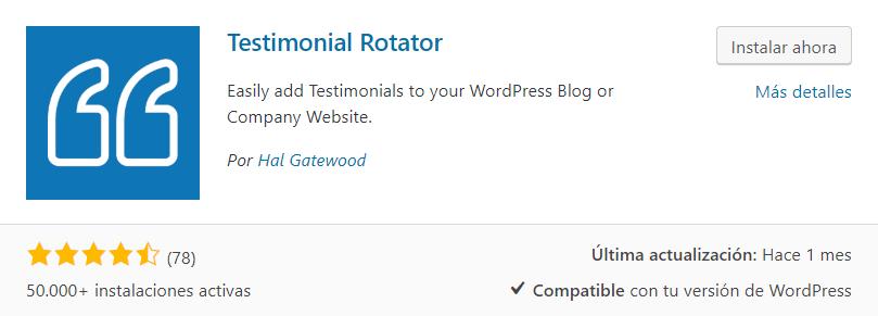 instalar testimonial rotator plugin testimonios wordpress