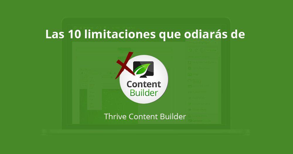 Limitaciones de Thrive Content Builder