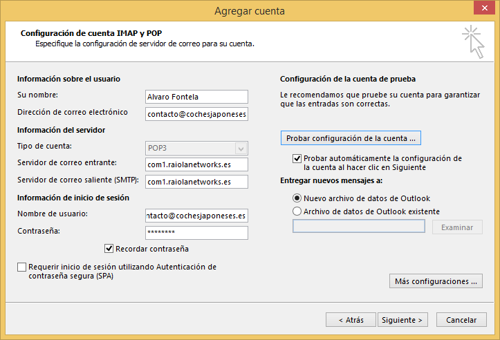 outlook cpanel
