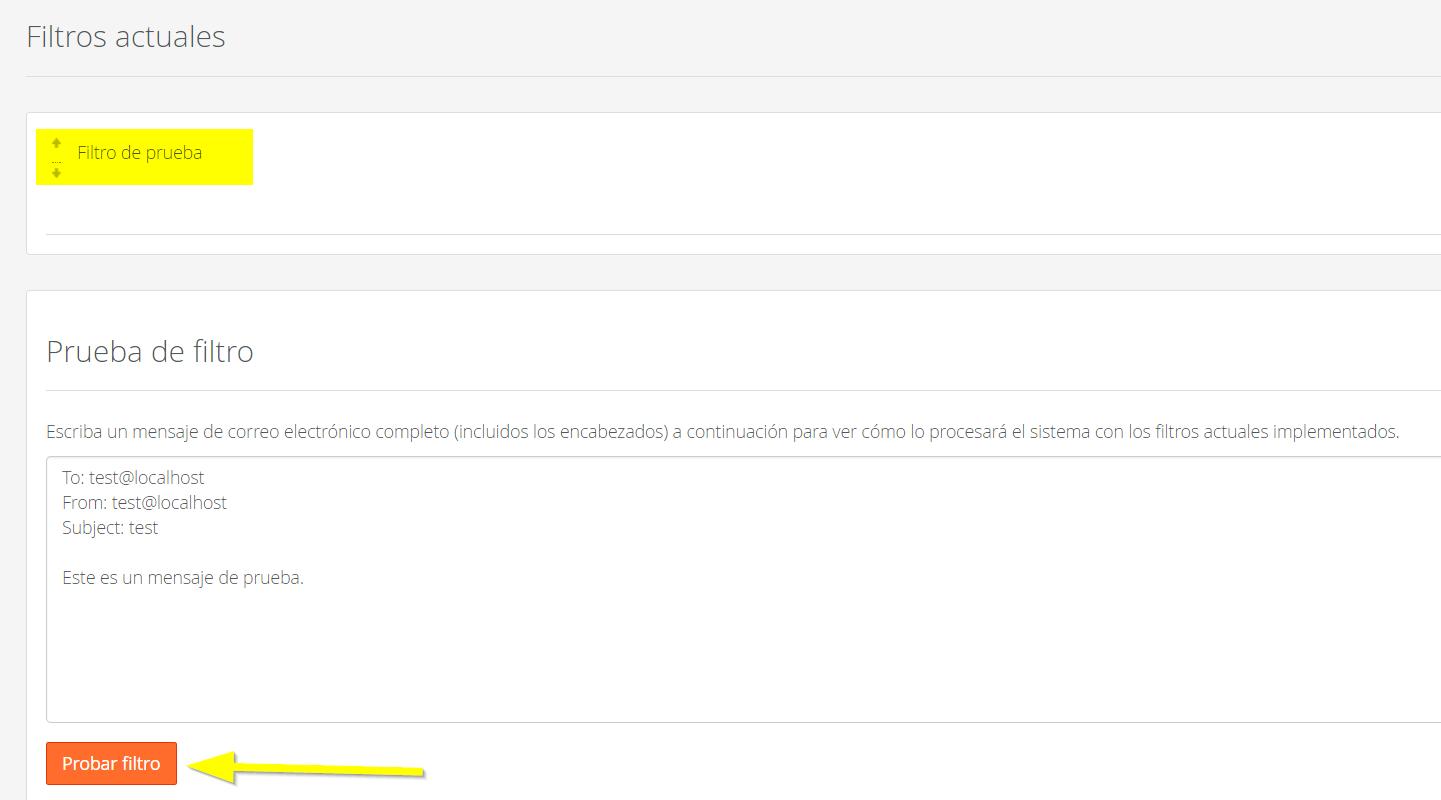 Prueba de filtro antispam cPanel para RoundCube